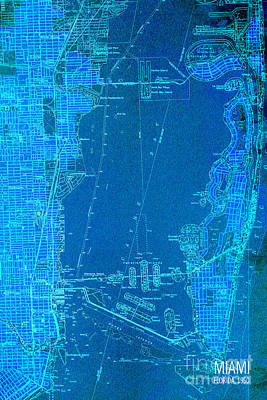 Miami Drawing - Miami Blue Old Vintage Map by Pablo Franchi