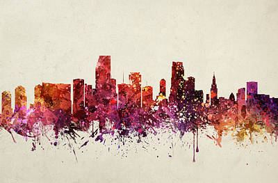 Skylines Drawings - Miami Cityscape 09 by Aged Pixel