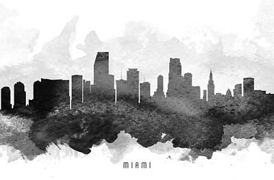 Miami Skyline Painting - Miami Cityscape 11 by Aged Pixel