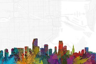 Skyline Digital Art - Miami Cityscape And Streetmap Skyline by Jurq Studio