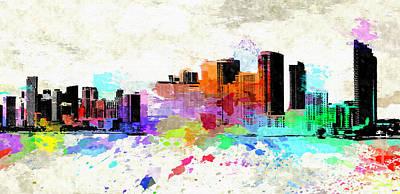 Miami Skyline Mixed Media - Miami Colored Grunge Skyline by Daniel Janda
