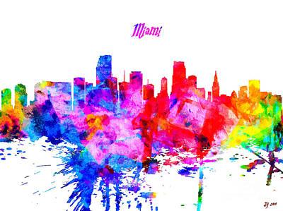 Miami Skyline Mixed Media - Miami Colorful Skyline by Daniel Janda
