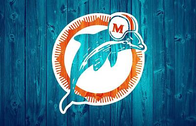 Athletes Mixed Media - Miami Dolphins Barn Door by Dan Sproul