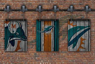 Photograph - Miami Dolphins Brick Wall by Joe Hamilton