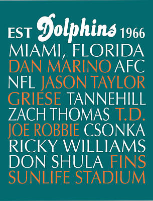 Subway Art Digital Art - Miami Dolphins by Jaime Friedman