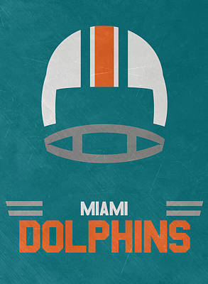 Dolphin Art Mixed Media - Miami Dolphins Vintage Art by Joe Hamilton