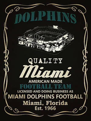 Miami Mixed Media - Miami Dolphins Whiskey by Joe Hamilton
