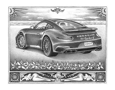 Sportscar Drawing - Miami Dreams by Jordan Cohen