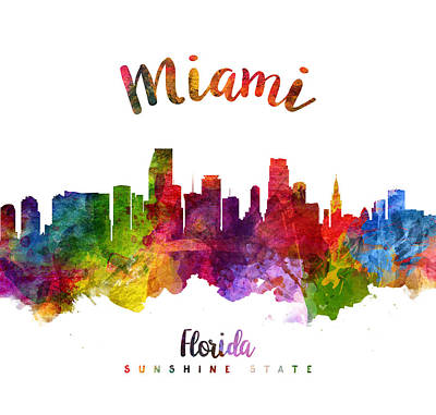Miami Skyline Painting - Miami Florida 23 by Aged Pixel