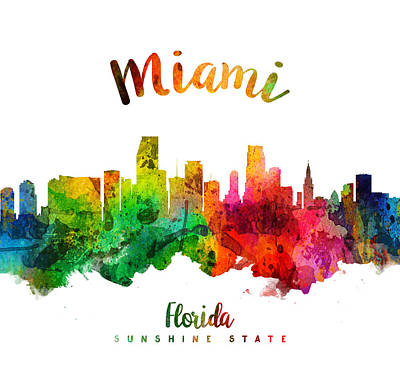 Miami Skyline Wall Art - Painting - Miami Florida 24 by Aged Pixel