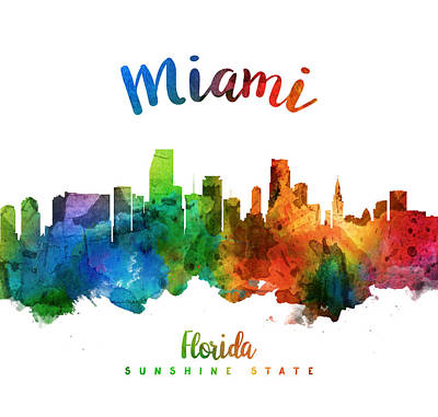 Miami Skyline Painting - Miami Florida 25 by Aged Pixel