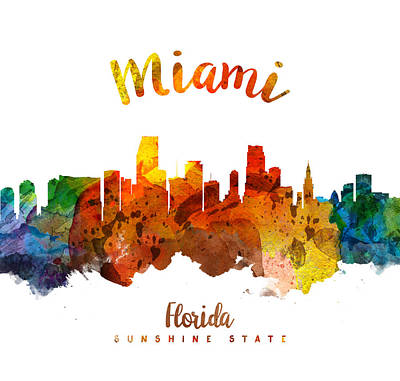 Miami Skyline Wall Art - Painting - Miami Florida 26 by Aged Pixel