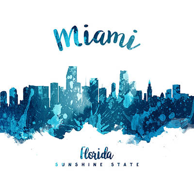 Miami Skyline Wall Art - Painting - Miami Florida 27 by Aged Pixel