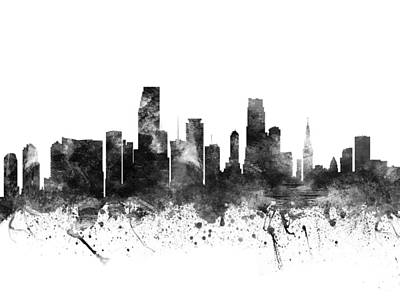 Miami Skyline Drawing - Miami Florida Cityscape 02bw by Aged Pixel