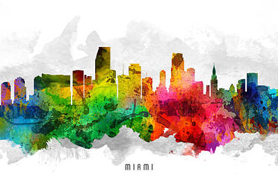 Miami Skyline Painting - Miami Florida Cityscape 12 by Aged Pixel