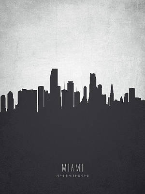 Miami Skyline Wall Art - Painting - Miami Florida Cityscape 19 by Aged Pixel