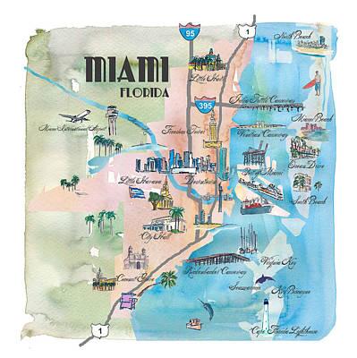 Miami Skyline Mixed Media - Miami Florida Fine Art Print Retro Vintage Map With Touristic Highlights by M Bleichner