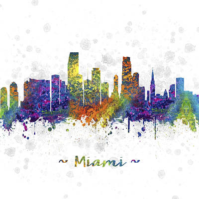 Miami Skyline Drawing - Miami Florida Skyline Color 03sq by Aged Pixel