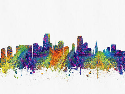 Miami Skyline Digital Art - Miami Florida Skyline Color03 by Aged Pixel