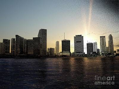 Miami Skyline Mixed Media - Miami, Florida Skyline by Eye Travel