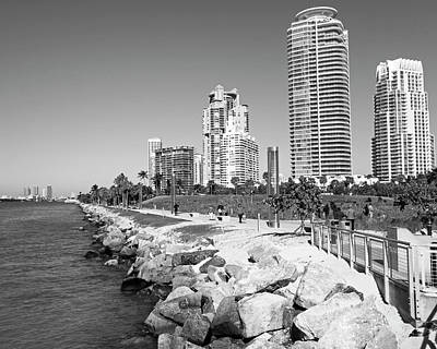 Photograph - Miami Florida Skyline Miami Beach Black And White by Toby McGuire