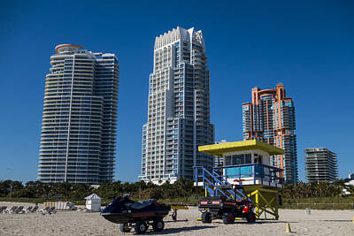 Photograph - Miami Florida Skyline Miami Beach Ocean Rescue Lifeguard House by Toby McGuire