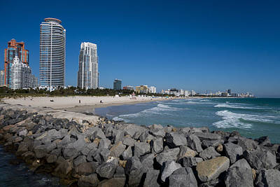 Photograph - Miami Florida Skyline Miami Beach Rock Wall by Toby McGuire