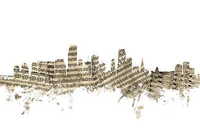 Miami Wall Art - Digital Art - Miami Florida Skyline Sheet Music by Michael Tompsett