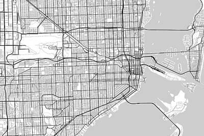 Vintage Automobiles - Miami Florida USA Light Map by Jurq Studio