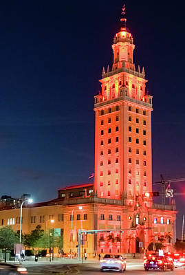 Photograph - Miami Freedom Tower At Night by Steven Richman