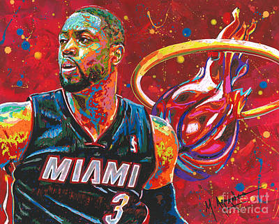 Sports Star Painting - Miami Heat Legend by Maria Arango