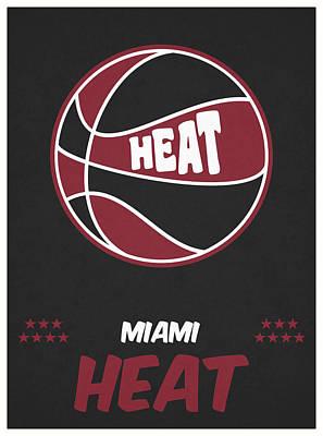 Miami Heat Mixed Media - Miami Heat Vintage Basketball Art by Joe Hamilton