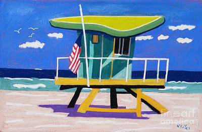 Miami Lime Green Hut Art Print by Lesley Giles