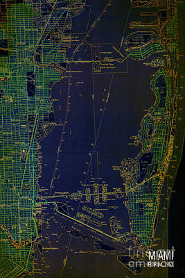 Miami Map 1950 Blue And Green Art Print