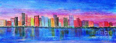 Painting -  Miami Port by Anne Sands