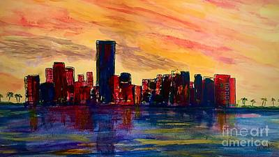 Painting - Miami Port At Dusk by Anne Sands