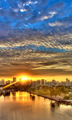 Miami River Sunrise Art Print by William Wetmore