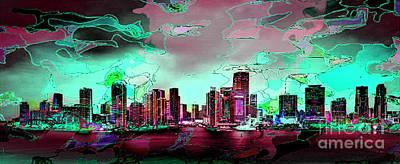 Digital Art - Miami Skyline by Rod Jellison