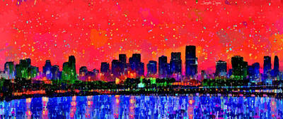 Atlantic Digital Art - Miami Skyline 10 - Pa by Leonardo Digenio