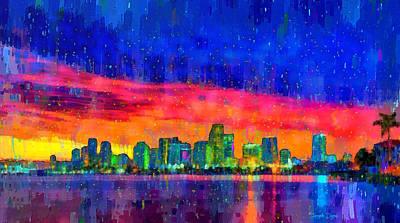 Nights Digital Art - Miami Skyline 100 - Da by Leonardo Digenio