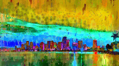 Florida Digital Art - Miami Skyline 101 - Da by Leonardo Digenio