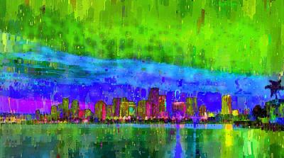 Palm Tree Digital Art - Miami Skyline 102 - Da by Leonardo Digenio