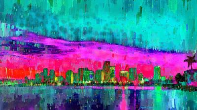 Miami Painting - Miami Skyline 103 - Pa by Leonardo Digenio