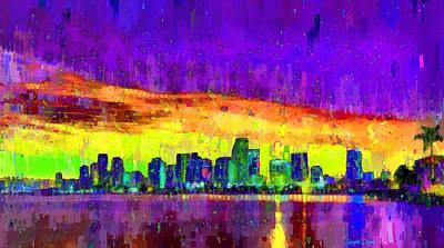 Abstracts Painting - Miami Skyline 104 - Pa by Leonardo Digenio