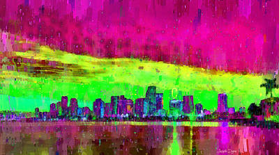 Scenic Digital Art - Miami Skyline 105 - Da by Leonardo Digenio