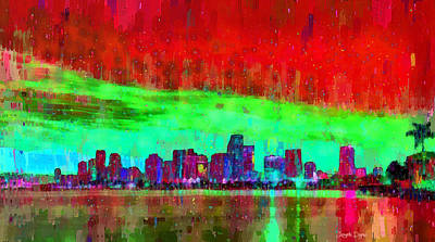 Reflection Digital Art - Miami Skyline 106 - Da by Leonardo Digenio