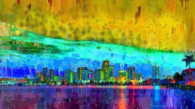 Towers Digital Art - Miami Skyline 107 - Da by Leonardo Digenio