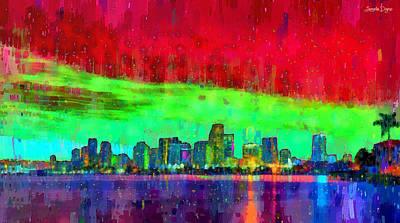 Scenery Digital Art - Miami Skyline 109 - Da by Leonardo Digenio