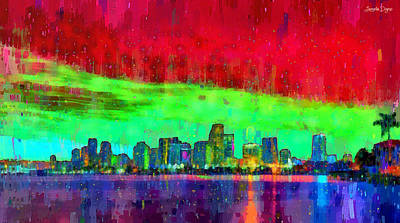 Scene Painting - Miami Skyline 109 - Pa by Leonardo Digenio