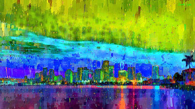 Style Digital Art - Miami Skyline 111 - Da by Leonardo Digenio